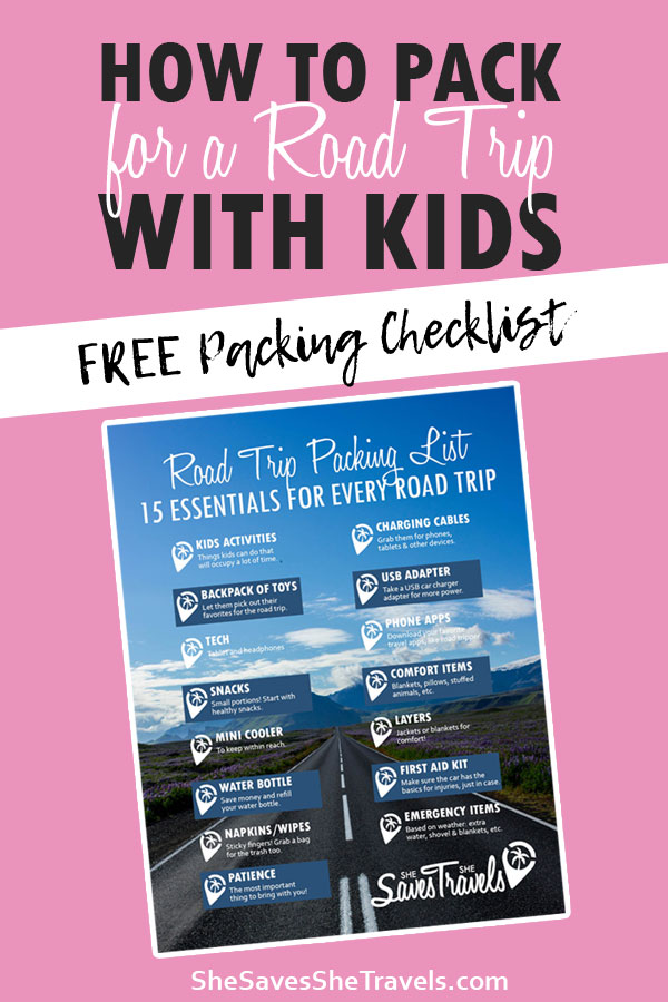 free packing checklist for a road trip with kids