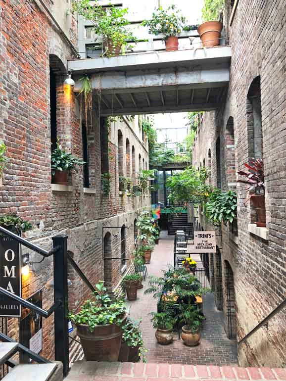 old market passageway with brick walls and plants