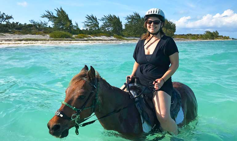 Nikki riding Provo Ponies horse Patches in the Caribbean