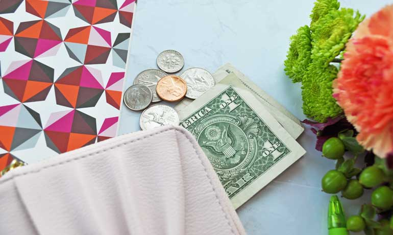 importance of savings account money with wallet and flowers