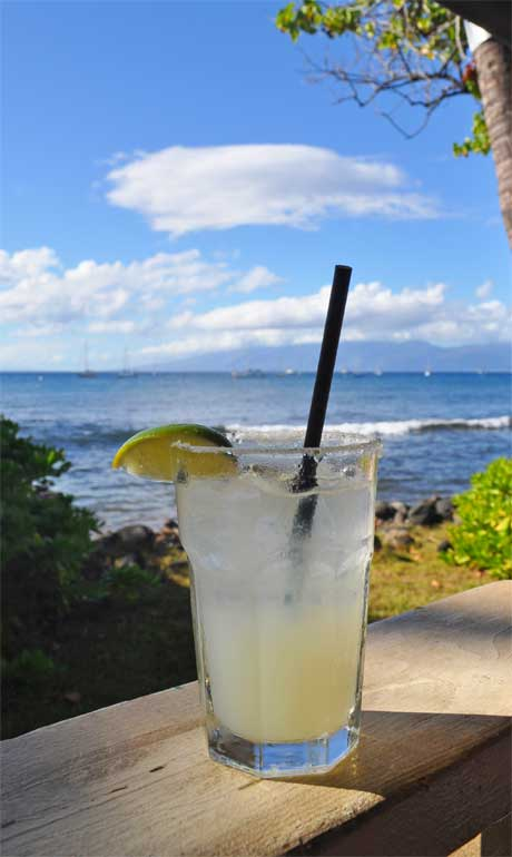 margarita with ocean in background