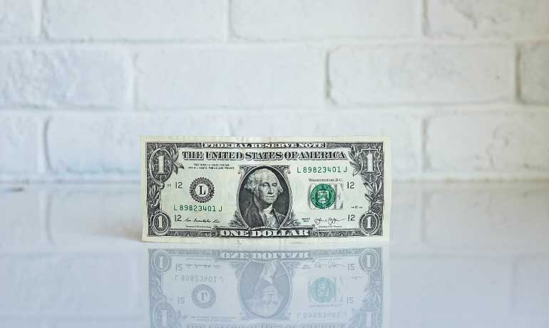 dollar bill on brick