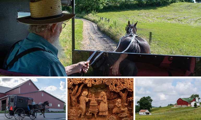 Amish Country Ohio collage horse and buggy, houses, wood carving