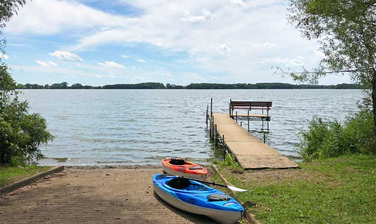 Underrated destinations - kayaks on the lake near Esterville, Iowa