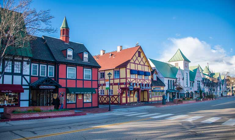 streets of Solvang colorful buildings