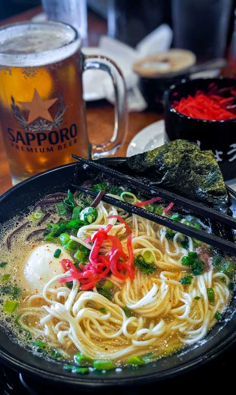 Ramen restaurant in Torrence, California plate of ramen and beer