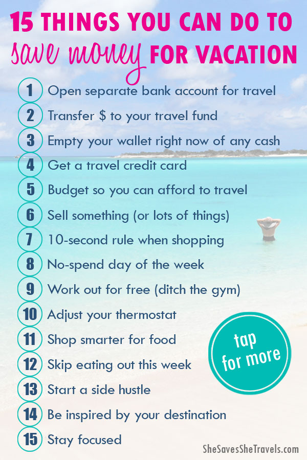 list of 15 things you can do to save money for vacation