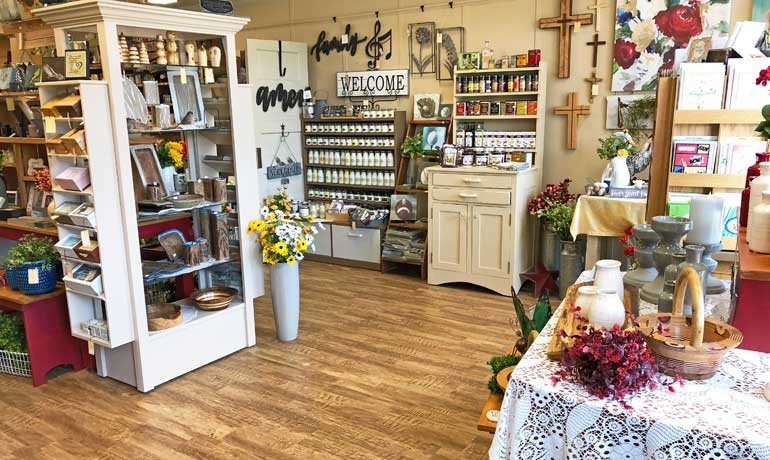 shop in iowa with decorations on shelves