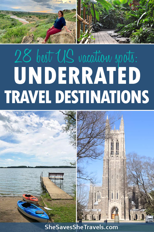 28 best US vacation spots: underrated travel destinations collage of cities