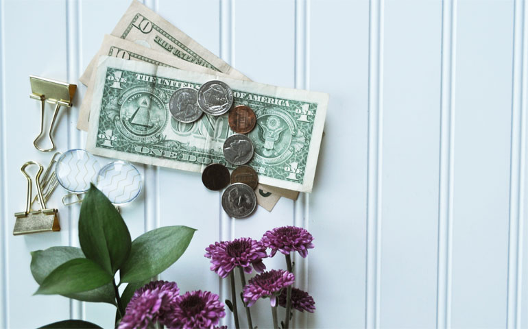 money flowers and office supplies