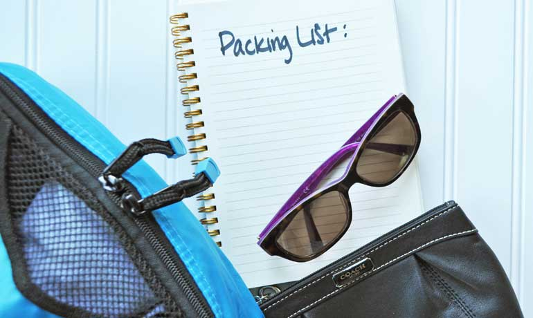 Packing list - sunglasses, wallet and packing cubes