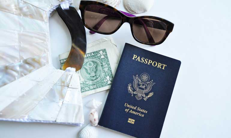 clutch, money, passport, sunglasses for your trip