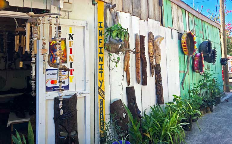 Exterior wall of shop with artwork