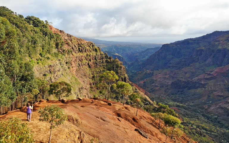 Hiking Waimea Canyon Trail with incredible views of the canyon