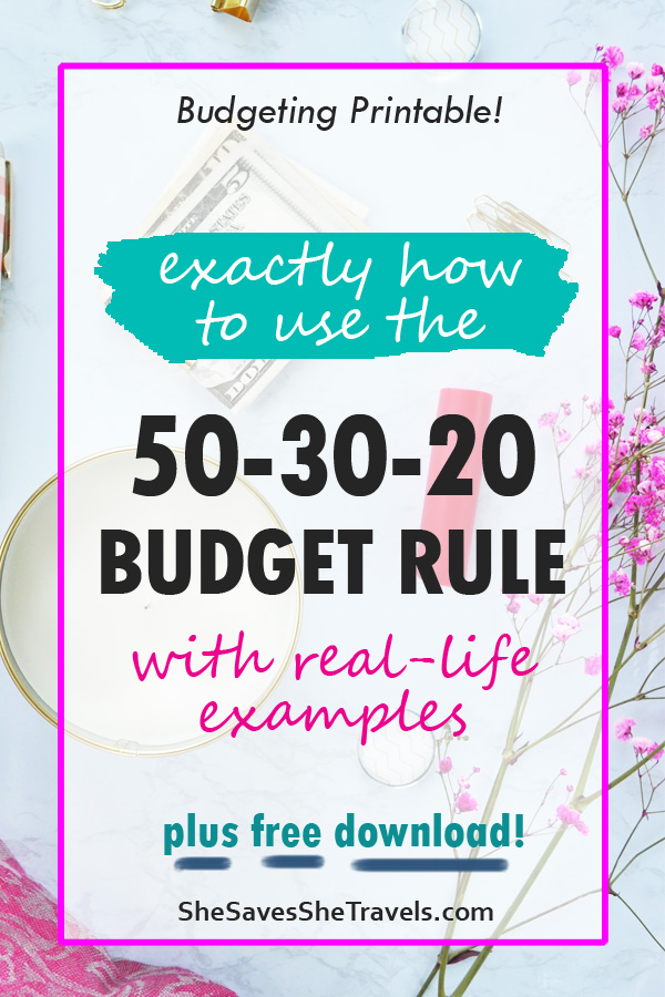 50 30 20 budget rule worksheet