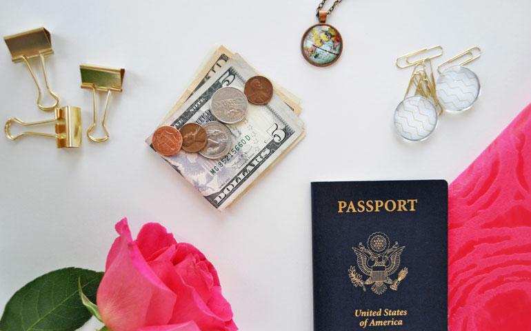 travel and money flatlay