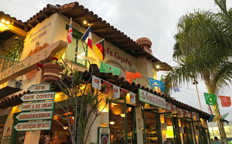 Cafe Coyote building with festive flags