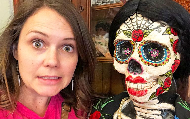 selfie with Dia de los Muertos skeleton