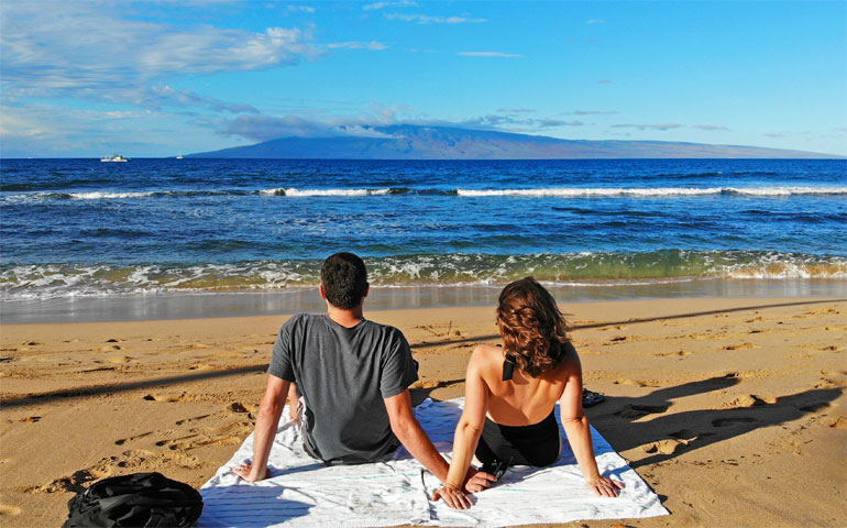 sitting on the beach in Kaanapali
