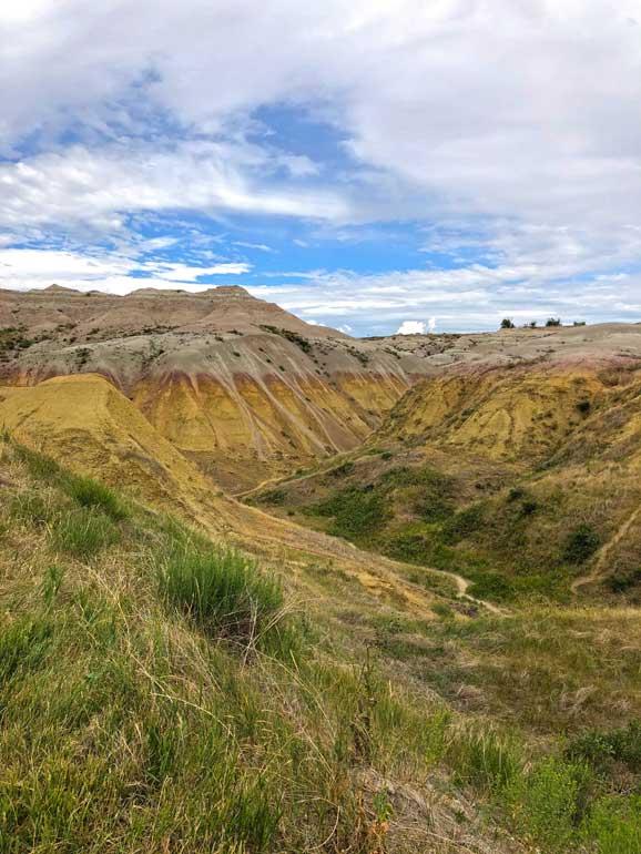 yellow mounds overlook badlands