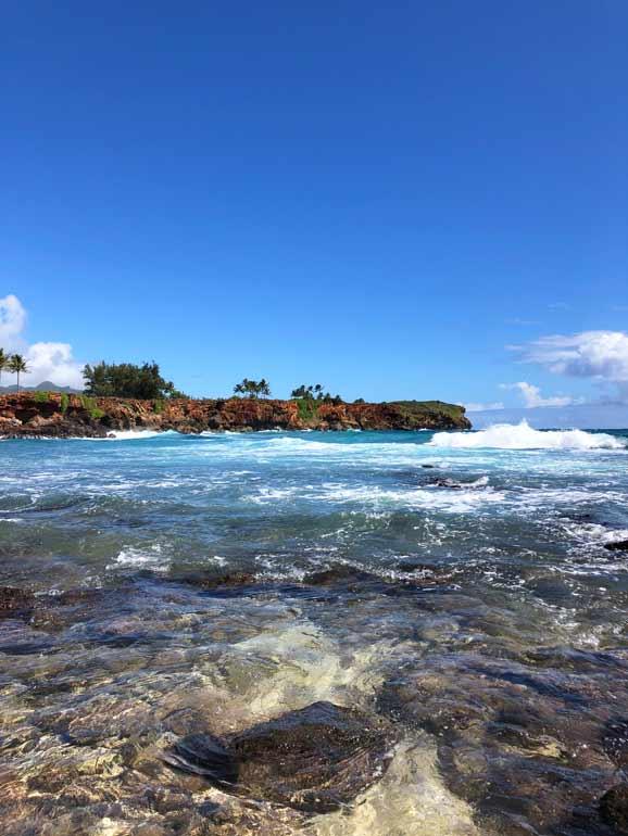 beautiful Hawiian waters on Kauai