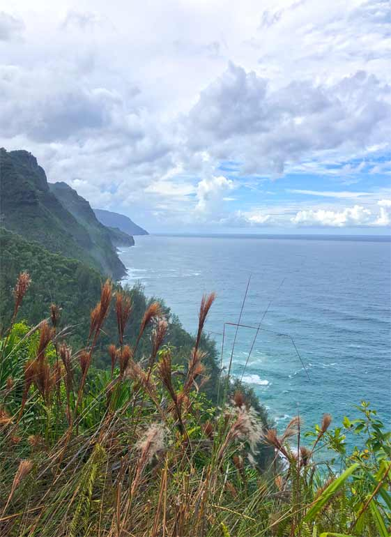 hiking kalalau trail at the napali coast, trail lookout