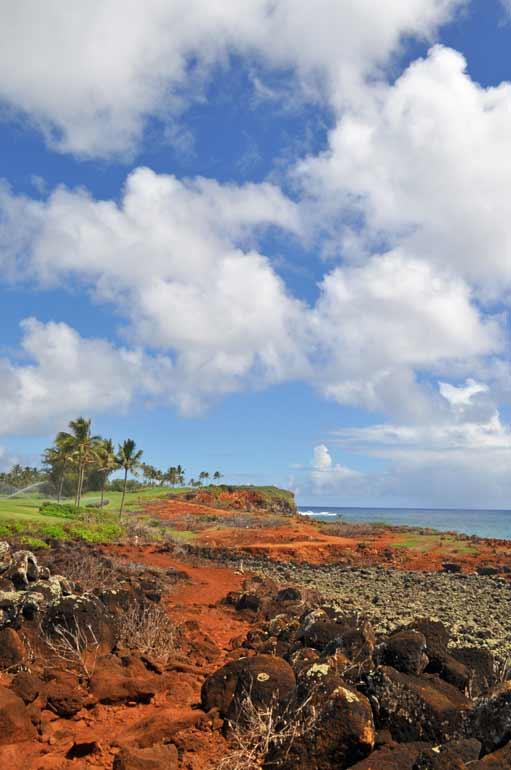 red dirt on Kauai's coastal trail