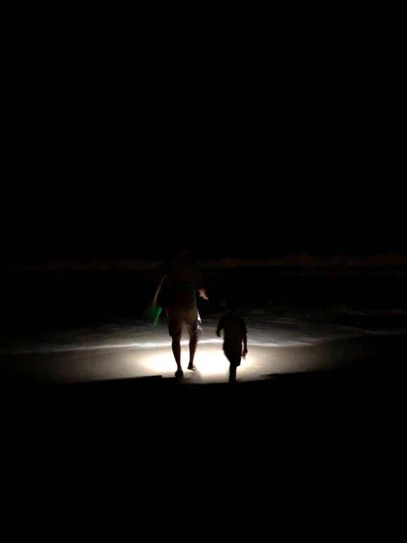hunting for marine life at night