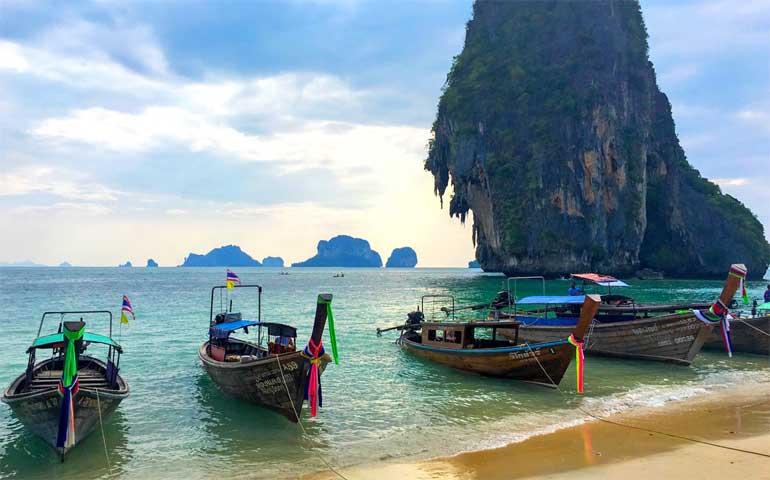 Ao Nang, Thailand boats along the shore