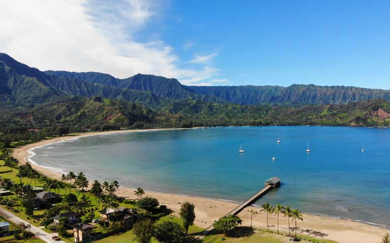 best snorkeling kauai aerial view of hanalei bay