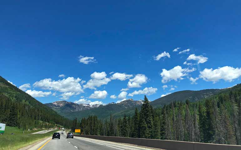colorado mountains and interstate