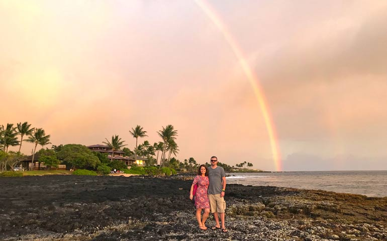Kauai sunset spot with rainbow in background