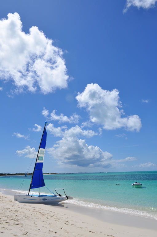 boat on the beach in providenciales