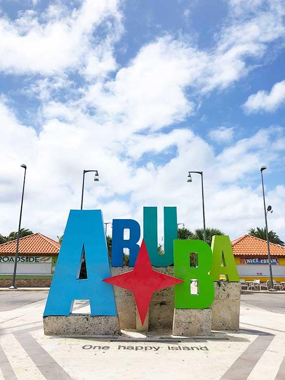 aruba one happy island sign