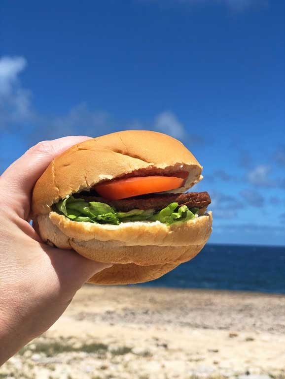 cheeseburger in foreground with sand and water in background