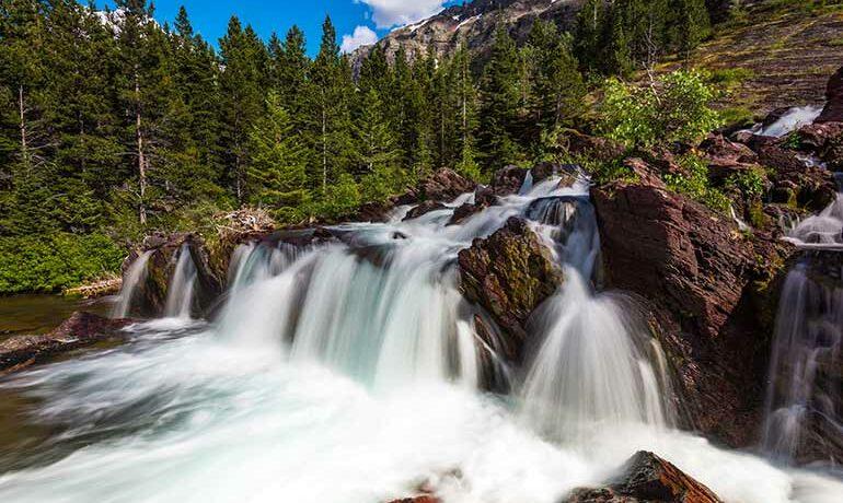 waterfalls in glacier national park
