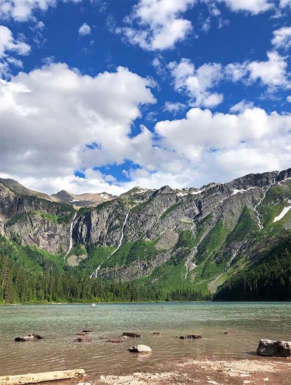 waterfalls at avalanche lake