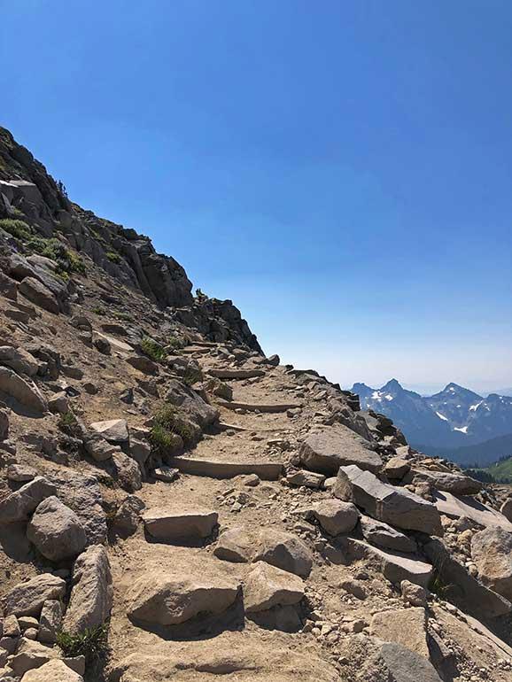hiking on rocks