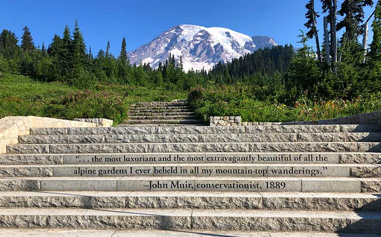 John Muir quote on the steps of the trailhead