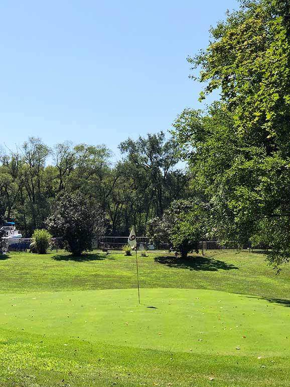 golfing on an island Lake Erie