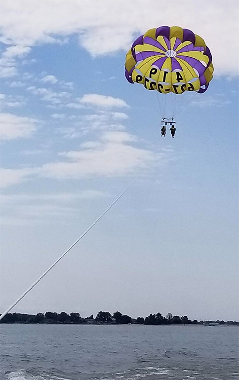 parasailing over Lake Erie at cedar point