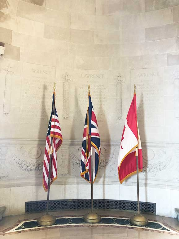 flags at Perry's victory and international peace memorail