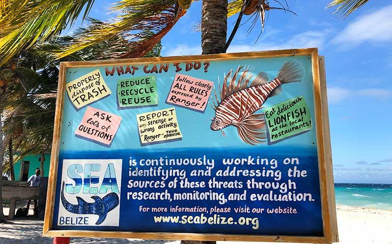 sea Belize sign