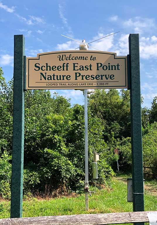 scheeff east point nature preserve sign