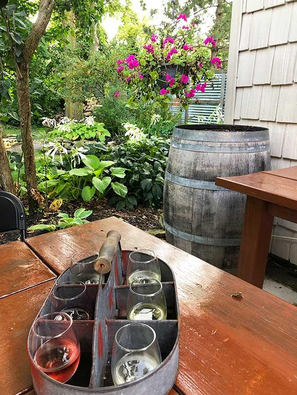 wine flight at winery